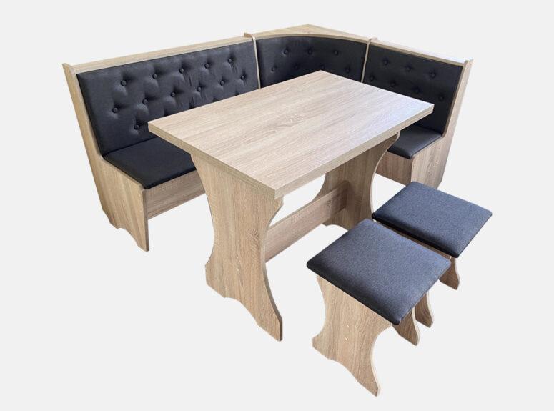 Virtuvės baldų komplektas - pilkos spalvos minkštasuolis, stalas ir dvi taburetės