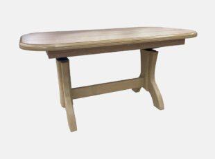 Hokei žurnalinis staliukas transformuojamas i valgomąjį stalą, sonoma ąžolo spalvos, su natūralios medienos kojomis