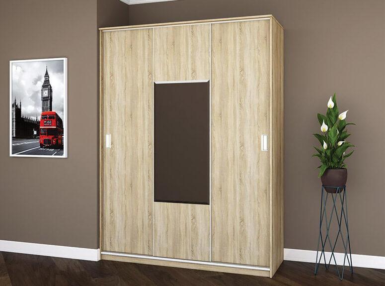 Komfort - trijų durų spinta su veidrodziu ir stumdomimis durimis, 150 cm plocio - sviesiai rudos sonoma azuolo spalvos