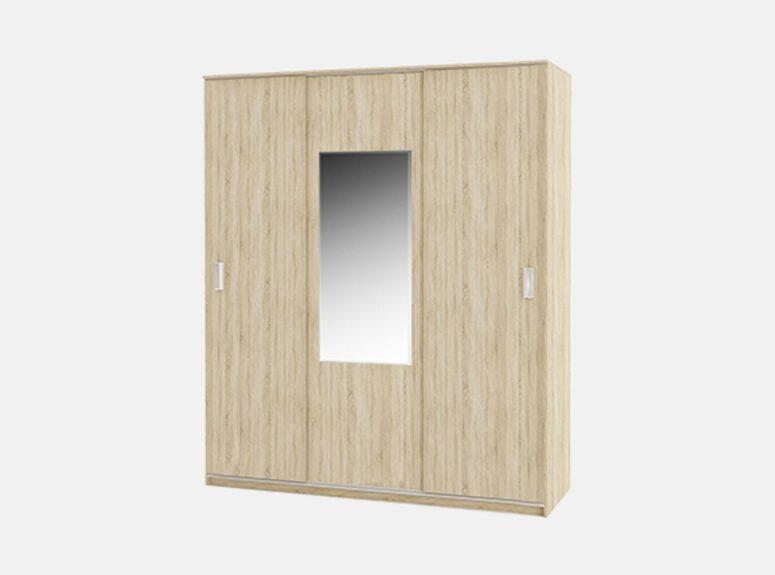 Komfort - trijų durų spinta su veidrodziu ir stumdomimis durimis, 180 cm plocio - sviesiai rudos sonoma azuolo spalvos