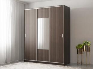 Komfort - trijų durų spinta su veidrodziu ir stumdomimis durimis, 180 cm plocio - tamsiai rudos vengespalvos