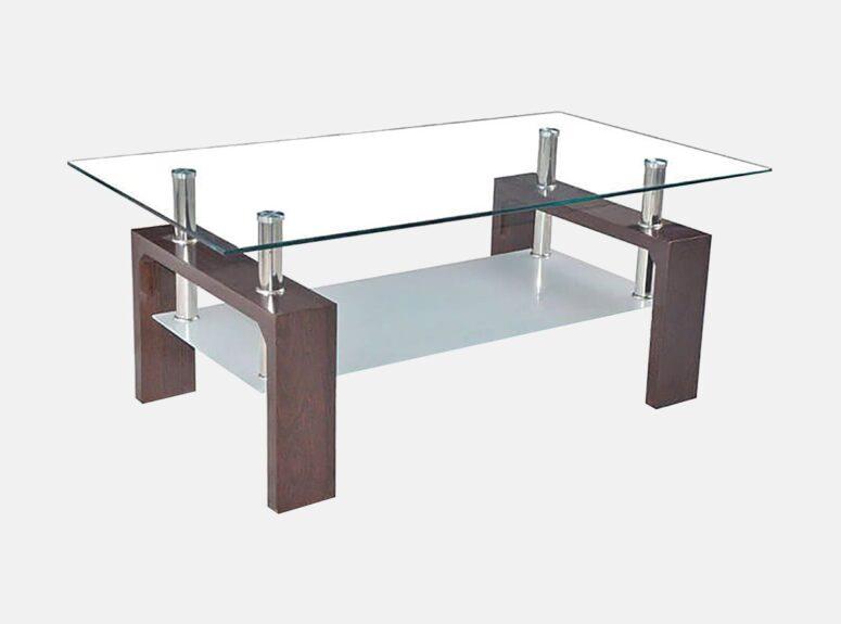 MLM 219 stiklinis zunalinis staliukas su papildoma lentynele