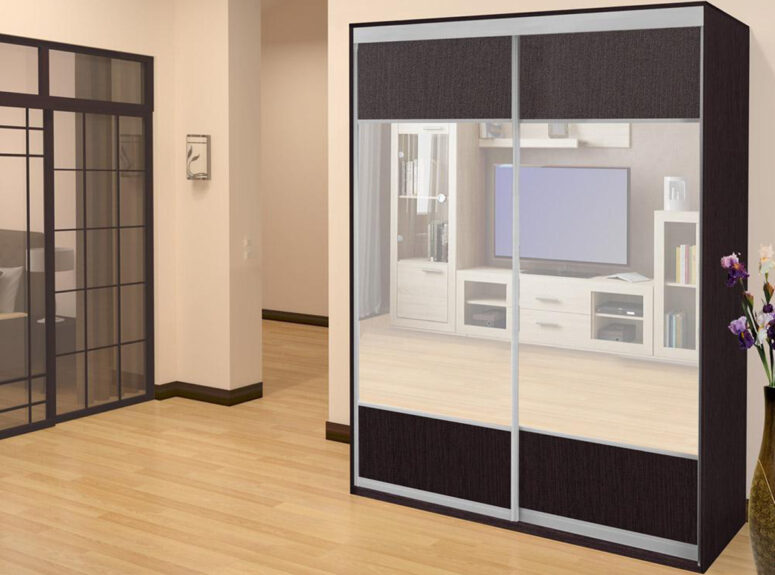 Premier - spinta su dvejomis stumdomomis veidrodinėmis durimis. Tamsiai ruda venge spalva