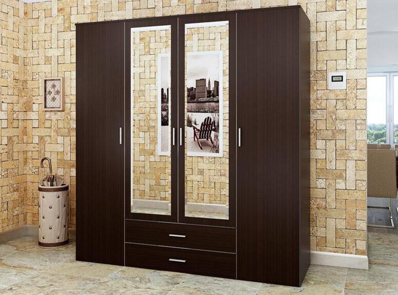 Rivjera - tamsiai rudos spalvos keturių durų spinta su dviem veidrodžiais ir dviem stalčiais