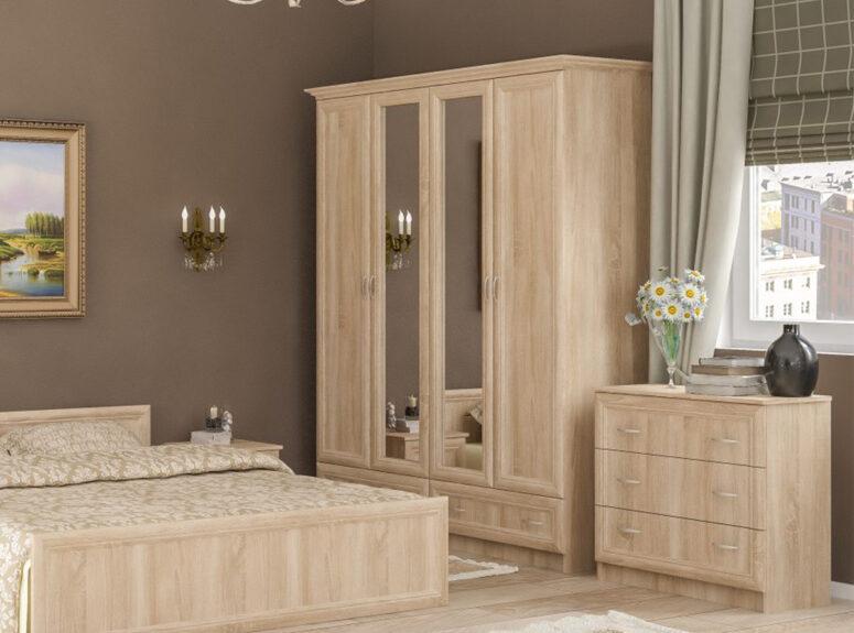 Sonata - sonoma ąžuolo spalvos keturių durų spinta su dviem veidrodžiais ir dviem stalčiais