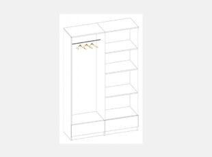 Sonata keturių durų spinta - vidaus brėžinys