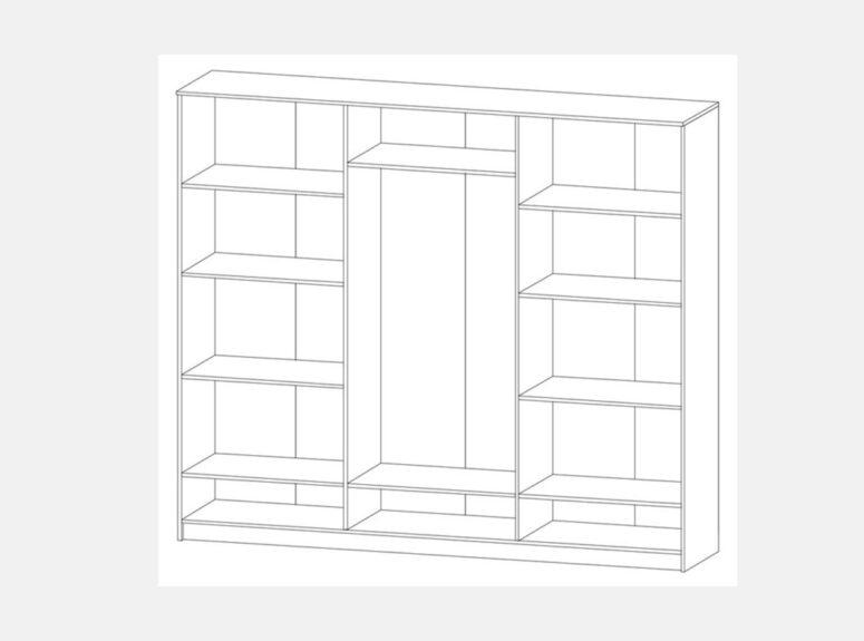 Sonata - sonoma ąžuolo spalvos šešių durų spinta su dviem veidrodžiais ir trimis stalčiais. Vidaus brėžinys
