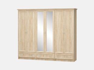 Sonata - sonoma ąžuolo spalvos šešių durų spinta su dviem veidrodžiais ir trimis stalčiais