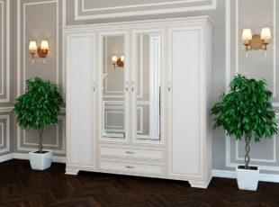 Stefani - elegantiško dizaino baltos bodega spalvos spinta su keturiomis durimis, dviem veidrodžiais ir dviem stalčiais.