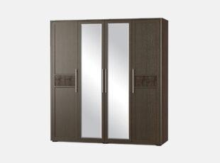 Tokio - tamsiai rudos venge spalvos keturių atveramų durų spinta su dviem veidrodžiais