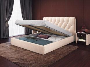 Imperija - kreminės spalvos karališko dizaino eko odos lova su patalynės dėže, siūlome platų spalvų pasirinkimą.