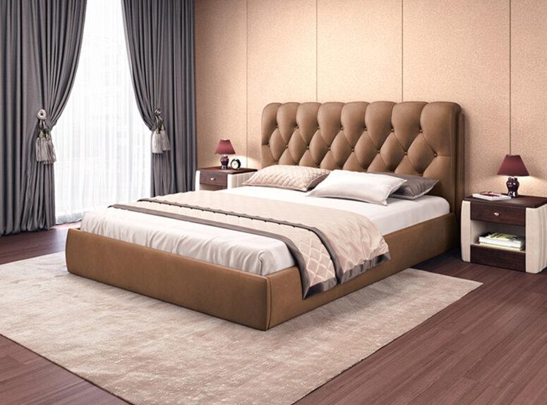 Imperija - rudos spalvos karališko dizaino eko odos lova su patalynės dėže, siūlome platų spalvų pasirinkimą. Galimi lovos išmatavimai 120x200, 140x200, 160x200, 180x200 cm.