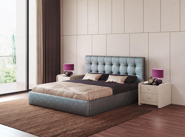 Mėlynos spalvos eko odos dvigulė lova Nikoletti su patalynės dėže ir pakėlimo mechanizmu
