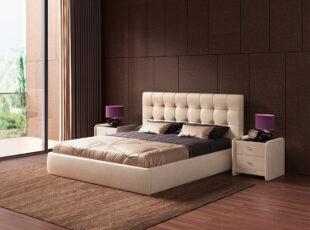 Kreminės spalvos eko odos dvigulė lova Nikoletti su patalynės dėže ir pakėlimo mechanizmu