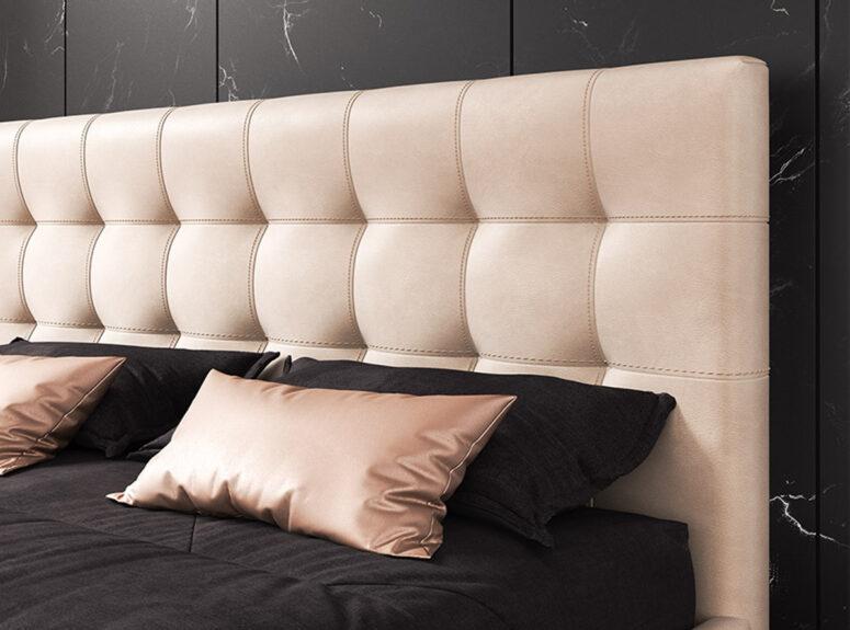 Smėlio spalvos eko odos dvigulė lova Nikoletti su patalynės dėže ir pakėlimo mechanizmu