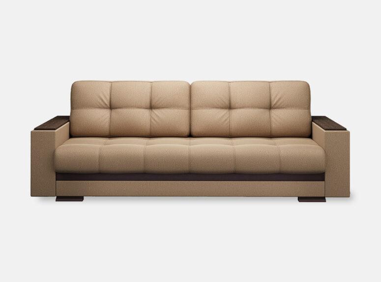 Šviesiai rudos spalvos sofa lova su mediniais porankiais ir patalynes dėže Nikoletti