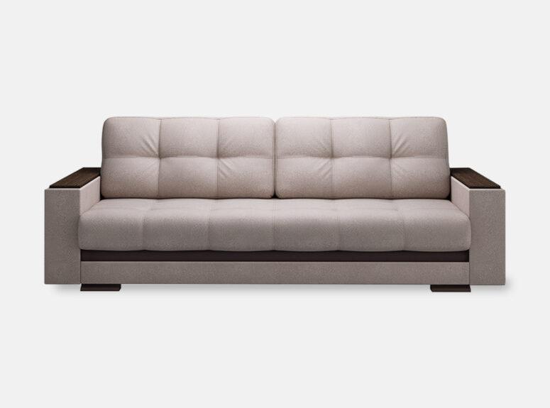 Šviesiai pilkos spalvos sofa lova su mediniais porankiais ir patalynes dėže Nikoletti