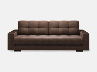 Tamsiai rudos spalvos sofa lova su mediniais porankiais ir patalynes dėže Nikoletti
