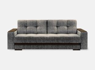 Pilkos rudos spalvos sofa lova su mediniais porankiais ir patalynes dėže Nikoletti