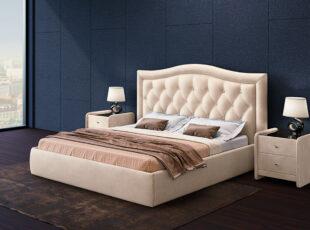 Venecija - kreminės spalvos karališko dizaino eko odos lova su patalynės dėže, siūlome platų spalvų pasirinkimą. Galimi lovos išmatavimai 120x200, 140x200, 160x200, 180x200 cm.