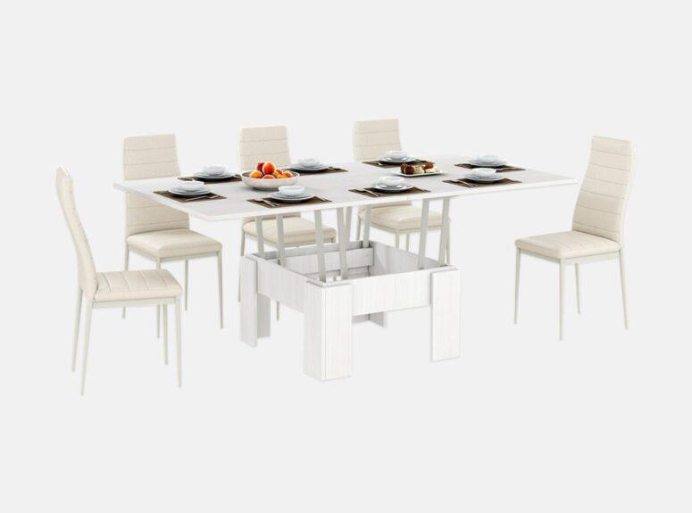 zurnalinis staliukas transformuojamas i valgomaji stala pilksvas bodega 1