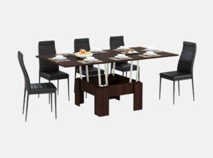 zurnalinis staliukas transformuojamas i valgomaji stala tamsiai rudos spalvos venge 1