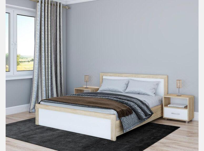 Lakonisko dizaino su aiskiomis formomis lova alba spalva balta matine ir sonomos azuolo