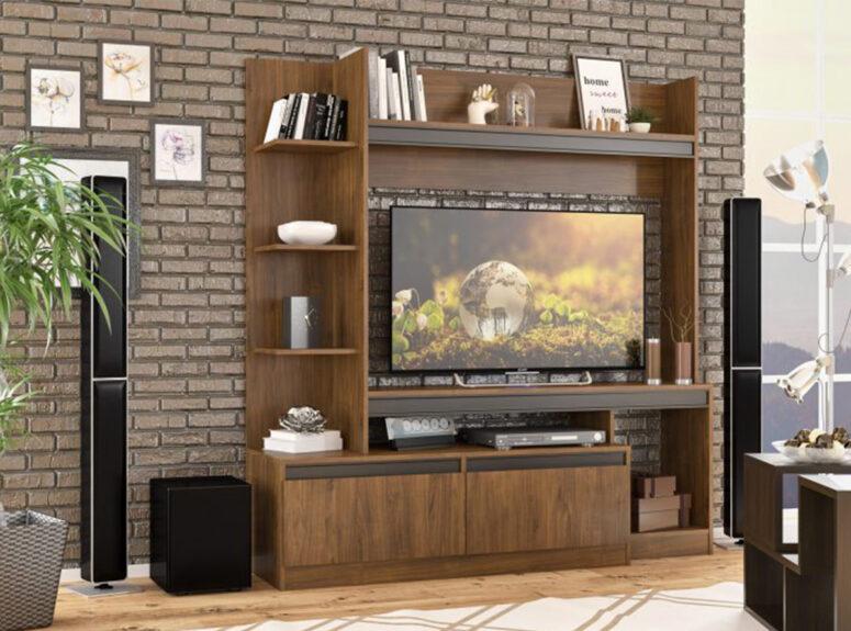 modernaus minimalistinio dizaino sekcija berna - tamsiai rudos renaldini ąžuolo spalvos