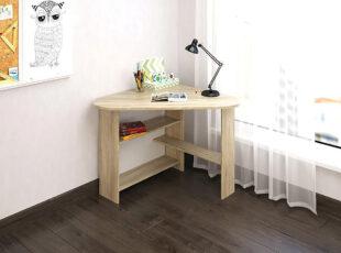 Eliza mažas kampinis šviesiai rudos sonoma ąžuolo spalvos darbo stalas