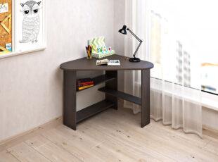 Eliza mažas kampinis tamsiai rudos venge spalvos darbo stalas