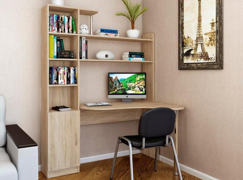 Kivi - šviesiai rudos sonoma ąžuolo spalvos aukštas darbo stalas su lentynomis. Itin didelis ir patogus