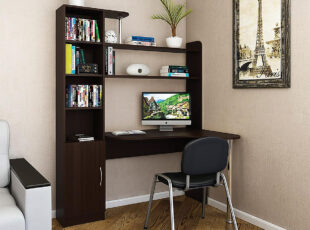 Kivi - tamsiai rudos venge spalvos aukštas darbo stalas su lentynomis. Itin didelis ir patogus