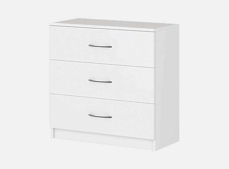 Komfort 3 - baltos matinės spalvos trijų stalčių komoda