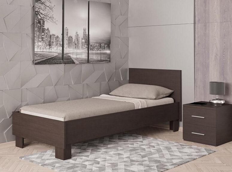 kuklaus dizaino viengule lova 900 spalva tamsiai ruda