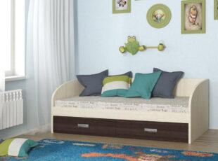 Vaikiška lakonisko dizaino lova su stalciais eliza spalva dub molocnij ir venge marija