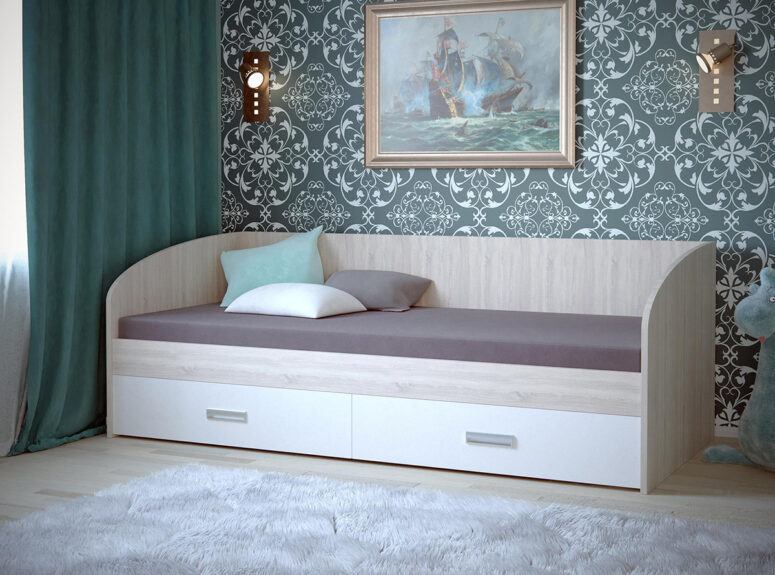 Vaikiška lakonisko dizainlakonisko dizaino lova su stalciais eliza spalva dub sonoma ir balta matine