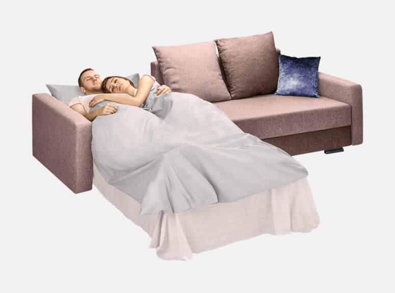 Mažas erdvus minkštas kampas, plati miegamoji dalis