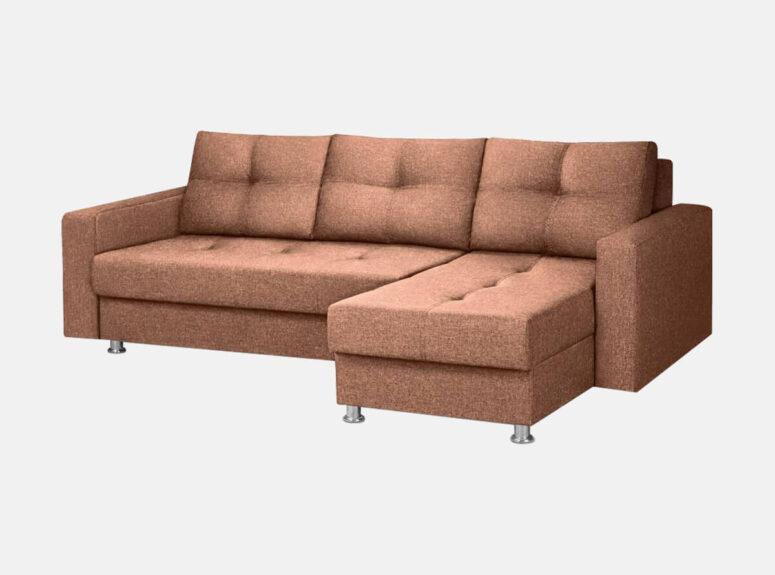 Modernus rudos spalvos vidutinio kietumo minkštas kampas ant kojelių palermo su dviem patalynės dėžėmis ir plačia miegamąja dlimi