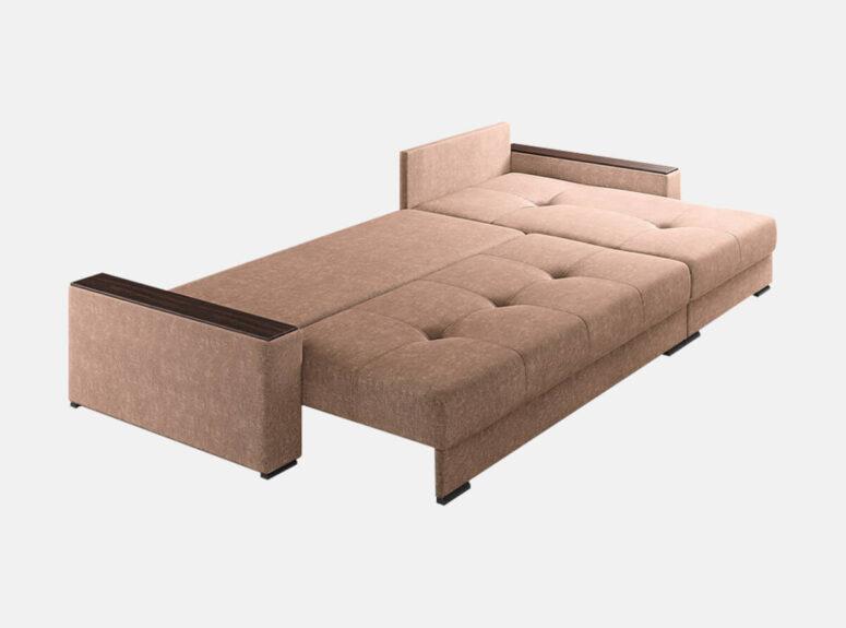 moderni rudos spalvos kampine sofa su nepriklausomų spyruokliu bloku nikoletti 2700. Minkštas kampas su mediniais porankiais, plačia miegamąja dalimi ir patalynės dėže