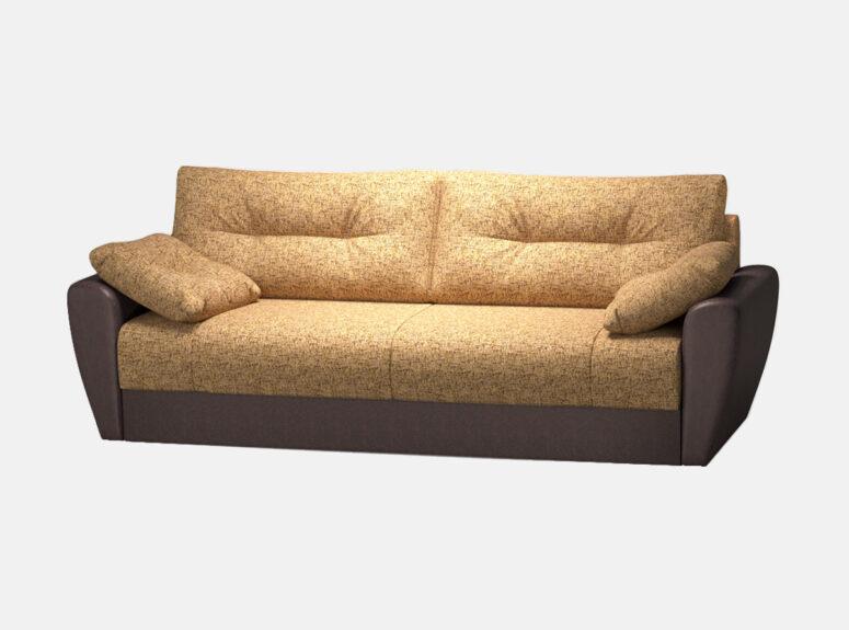 Šviesiai rudos spalvos sofa lova Reloti su eko odos ir gobeleno deriniu bei minkštomis dekoraryvinėmis pagalvėlėmis