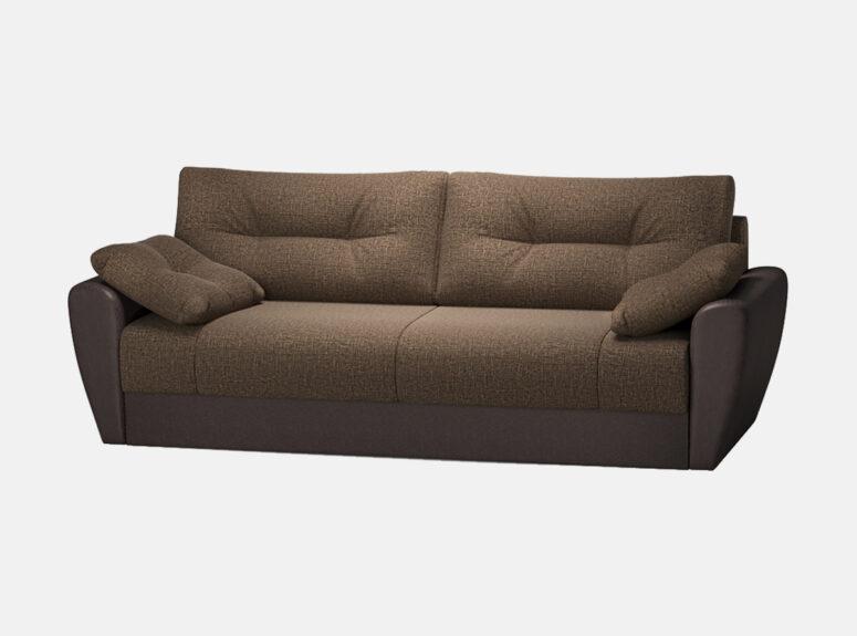 Sofa lova Reloti su eko odos ir gobeleno deriniu bei minkštomis dekoraryvinėmis pagalvėlėmis