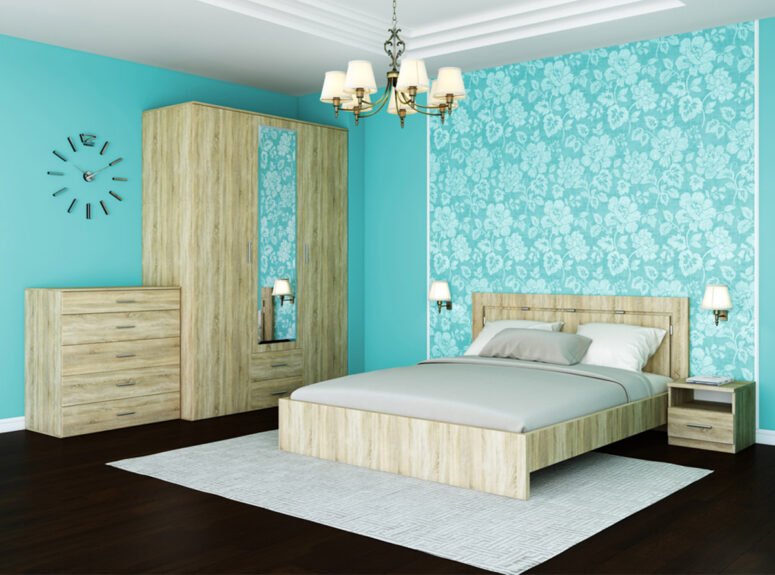 Rivjera miegamojo kambario komplektas dvigule lova naktine spintele komoda spinta