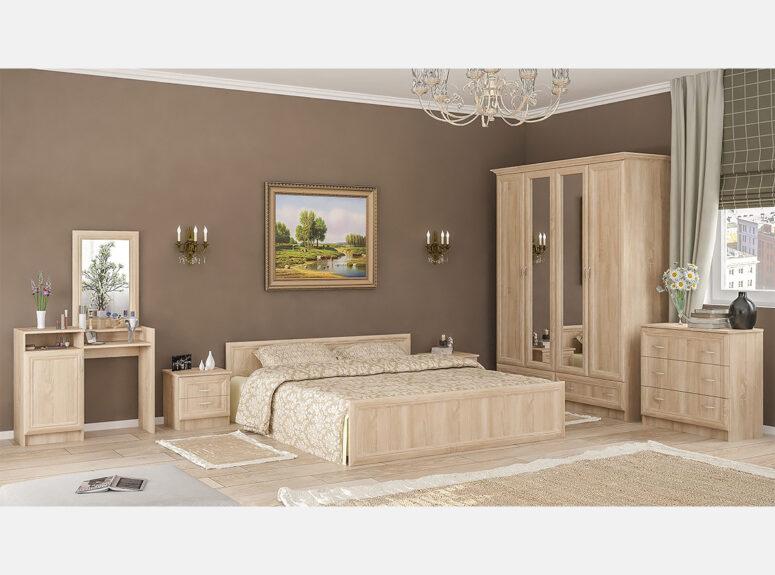 sonata miegamojo kambario komplektas dvigule lova naktine spintele komoda spinta kosmetinis staliukas
