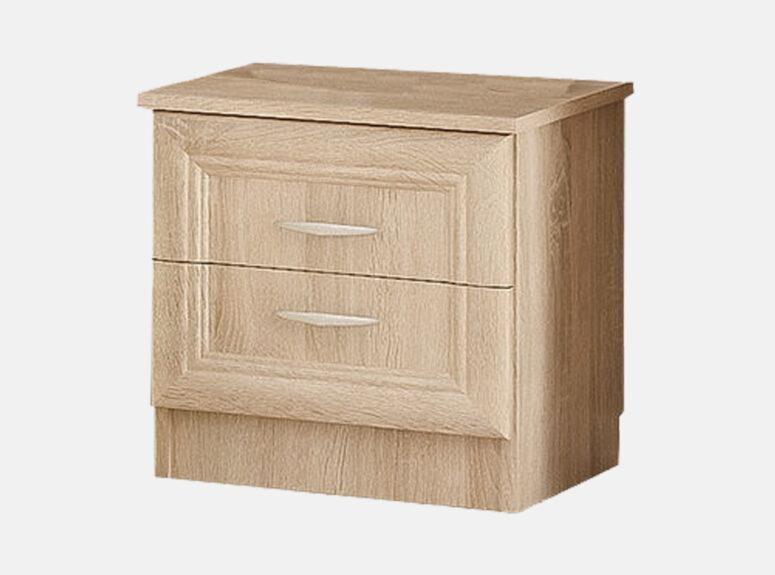 Sonata - šviesiai rudos sonoma ąžuolo spalvos naktinė spintelė su dviem stalčiais.