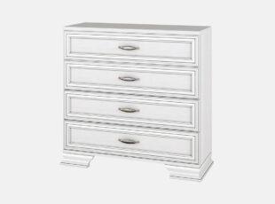 Stefani - baltos bodega spalvos keturių stalčių komoda
