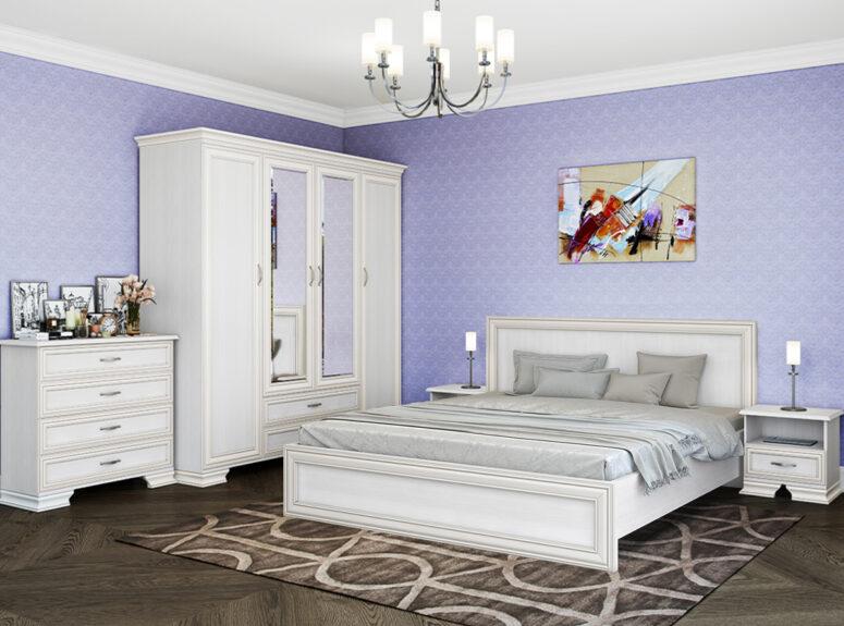 stefani miegamojo komplektas komoda spinta dvigule lova naktine spintele baltos spalvos