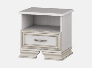 Stefani - elegantiško dizaino baltos bodega spalvos naktinė spintelė su vienu stalčiumi.
