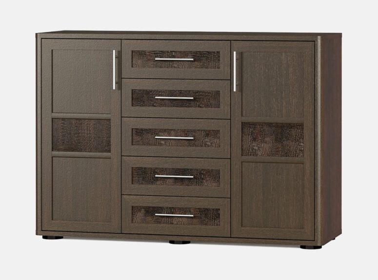 Tokio - prabangi penkių stalčių ir dviejų durelių tamsiai rudos spalvos komoa