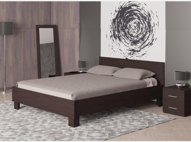 universali santuraus dizaino lova 120 spalva tamsiai ruda