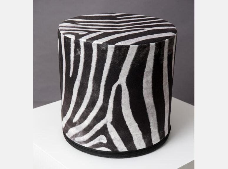 zaismingo dizaino spalvingas pufas su zebro rastais